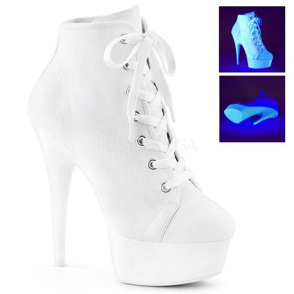 Weiße Canvas High Heel Sneaker DELIGHT-600SK-02